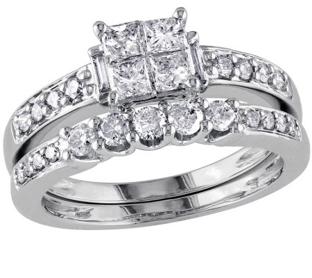 Cluster Diamond Ring Set, 14K White Gold, byAffinity