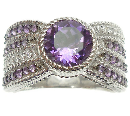 Judith Ripka Sterling, Amethyst and DiamoniqueRing