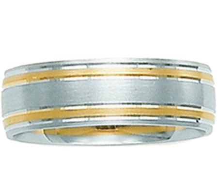 14K White Gold Two-Tone Comfort Fit SatinWedding Band