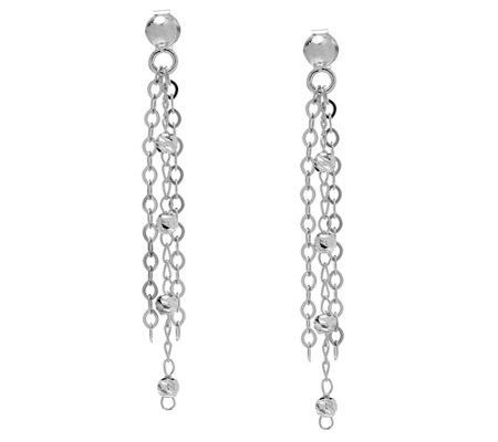 Italian Silver Sterling Diamond-Cut Bead Fringe Earrings