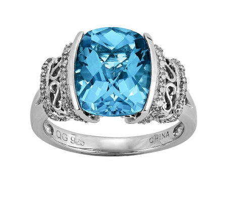 Sterling 5.00 ct Swiss Blue Topaz & 1/5 cttw Diamond Ring