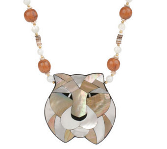 "Lee Sands Tiger Inlay Pendant on 20"" Bead & Shell Necklace - J342895"