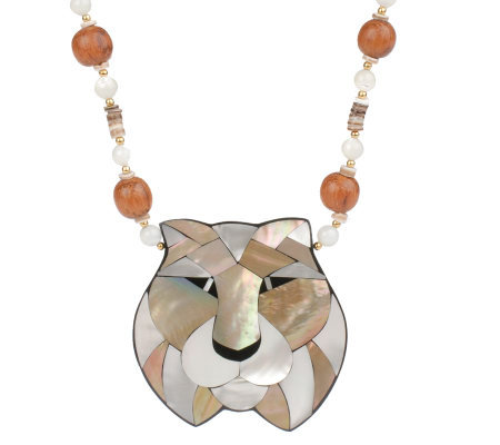 "Lee Sands Tiger Inlay Pendant on 20"" Bead & Shell Necklace"