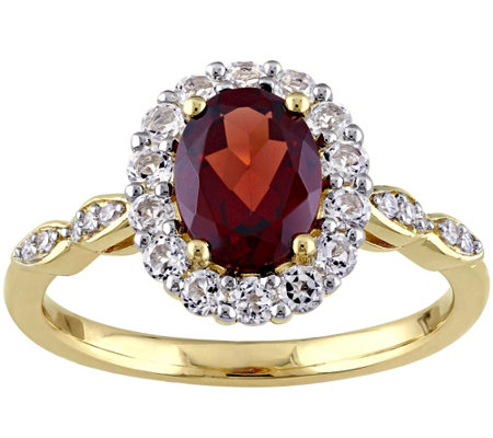 14K Yellow Gold 2.00 cttw Garnet & White TopazRing