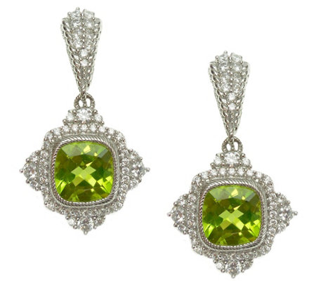 Judith Ripka Sterling Diamonique and Peridot Dangle Earrings