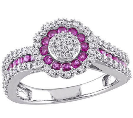 0.60 cttw Ruby & 1/2 cttw Diamond Ring, 14K White Gold