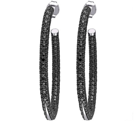 Black Diamond Hoop Earrings, Sterling, 1/4 cttw, by Affinity