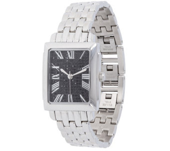 Stainless Steel Square Face w/ Crystals PantherLink Watch - J344395