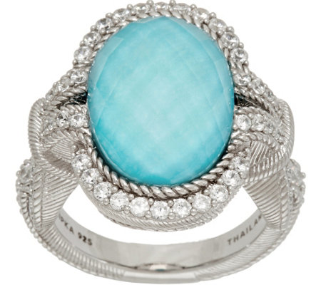Judith Ripka Sterling Silver Turquoise Doublet Ring
