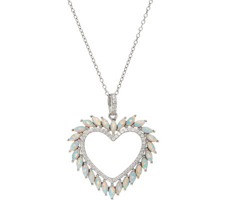 Diamonique and Synthetic Opal Heart Pendant, Sterling
