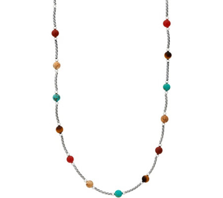 American West Multi-Gemstone Bead and Sterling Necklace
