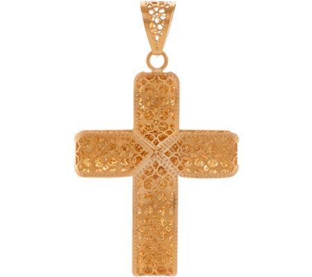 Italian gold cross pendant 14k gold page 1 qvc italian gold cross pendant 14k gold aloadofball Image collections
