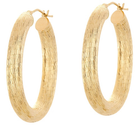 """As Is"" Italian Gold Satin Ribbed Oval Hoop Earrings, 14K Gold"