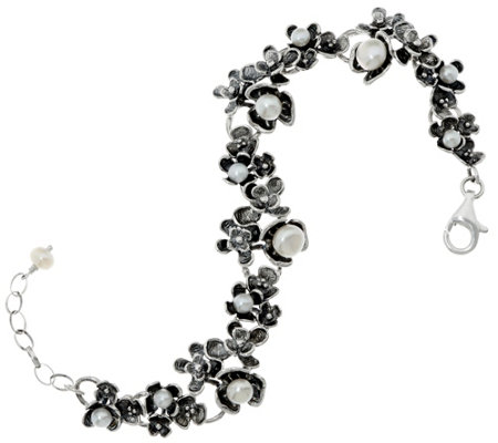 """As Is"" Sterling Silver Cultured Pearl Floral Bracelet by Or Paz"