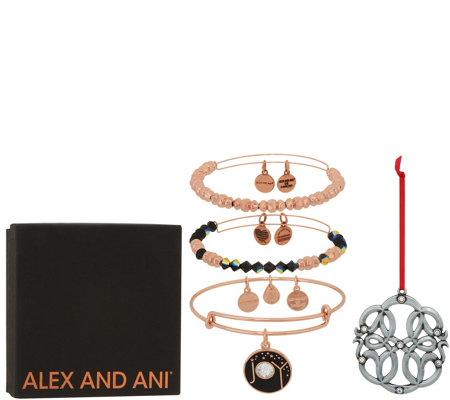 """As Is"" Alex and Ani Set of 3 Joy Bangles & Ornament"