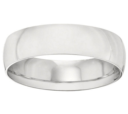 Women's 14K White Gold 6mm Half Round Wedding Band