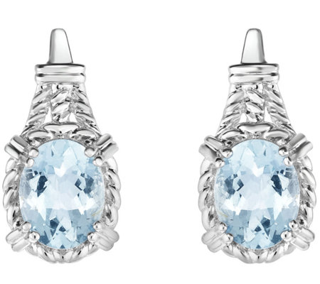 Sterling 3.00 cttw Aquamarine Earrings