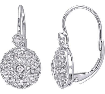 Diamond Filigree Earrings, 14K White Gold, 1/8cttw, Affinity