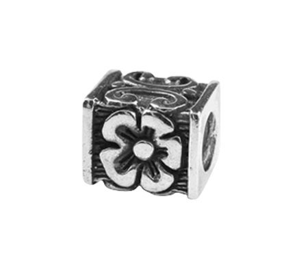 Prerogatives Sterling Floral Cube Bead