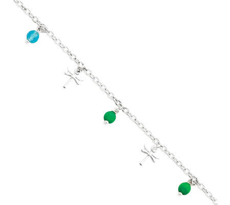 "Sterling 10"" Bead and Cross Anklet"
