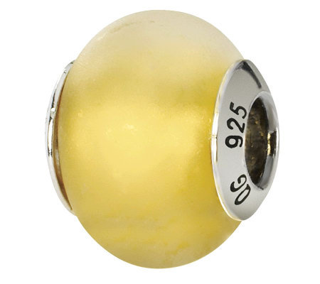 Prerogatives Sterling Yellow Matte Italian Murano Glass Bead