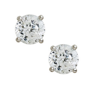 Diamonique 100-Facet Round Stud Earrings, Platinum Clad - J112296