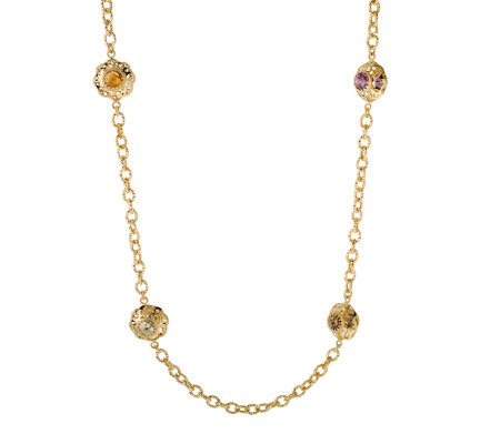 Arte d'Oro 14.0cttw Multi-Gemstone Station Necklace, 18K Gold