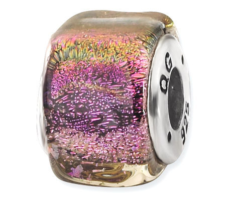 Prerogatives Sterling Purple Dichroic Glass Square Bead