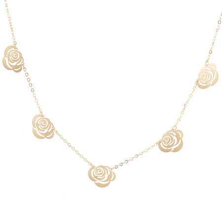Satin Finish Rose Station Necklace 18K Gold