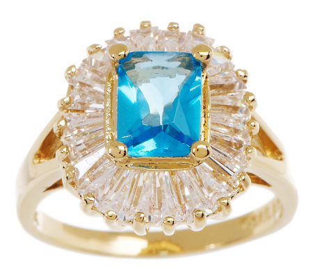 Jacqueline Kennedy Simulated Aquamarine & Diamond Ring