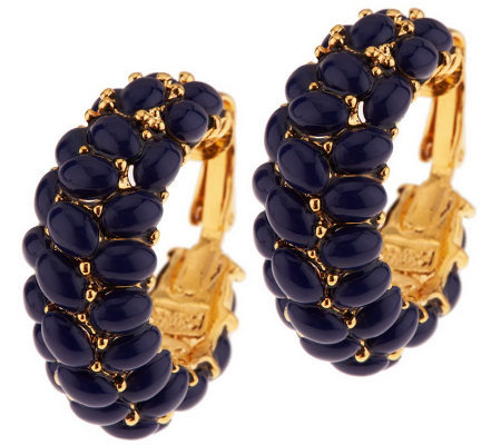 Kenneth Jay Lane's Signature Cabochon Hoops