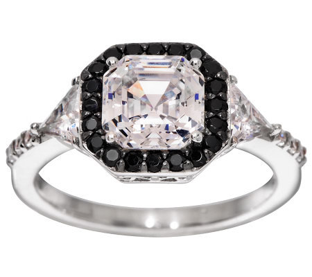Diamonique Black & Clear Asscher Cut Ring, Platinum Clad