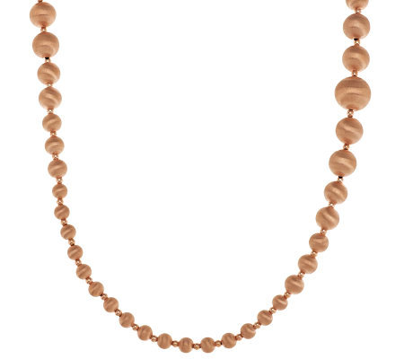 "Veronese 18K Rose Gold Clad 36"" Graduated Satin Bead Necklace"