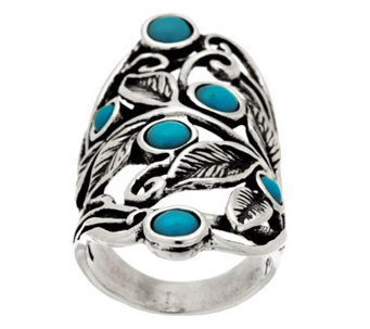 Sterling Silver Turquoise Elongated Leaf Design Ring by Or Paz - J286296