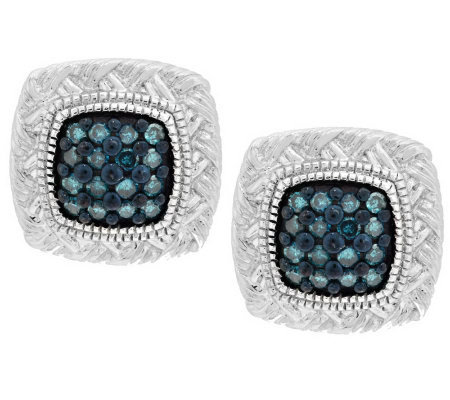 Pave' Color Braided Diamond Studs, Sterling 1/5 cttw, by Affinity
