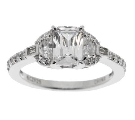 epiphany diamonique emerald cut halo ring page 1 qvc