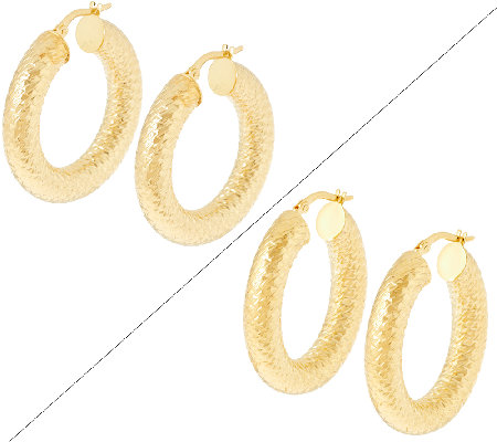 "VicenzaGold 1-1/4"" Round or Oval Diamond Cut Tube Hoop Earrings, 14K"