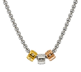 Stainless Steel Set of 3 Tri- Color Charms with Box Chain - J293396