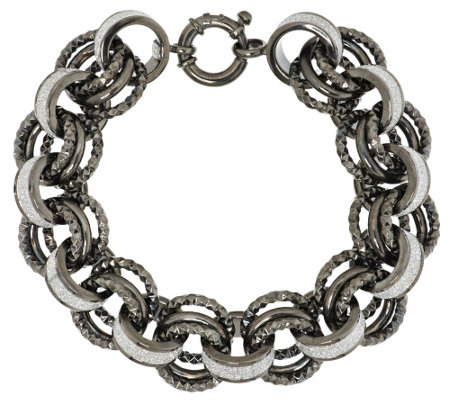 """As Is"" Italian Silver Sterling 7-1/4"" Pave' Rolo Bracelet, 39.2g"