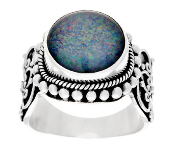 Suarti Artisan Crafted Australian Opal Triplet Beaded Ring - J294796