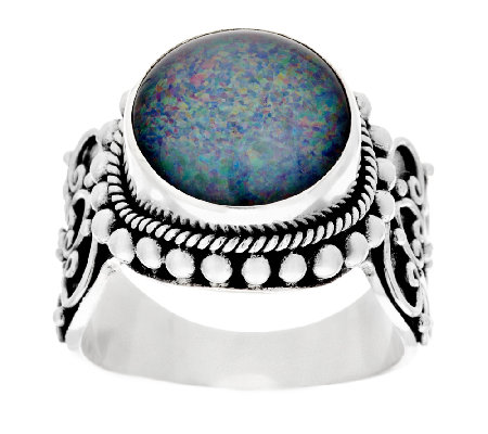 Suarti Artisan Crafted Australian Opal Triplet Beaded Ring