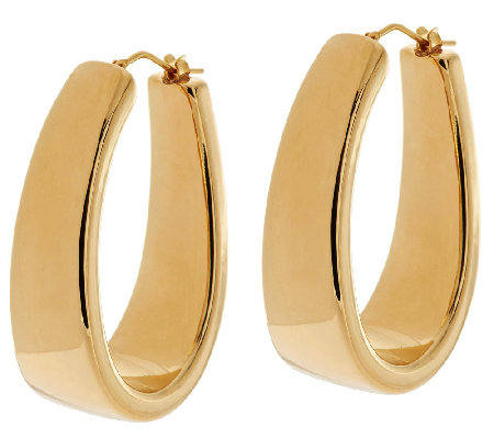 "Oro Nuovo 1-1/2"" Polished Graduated Hoop Earrings 14K"