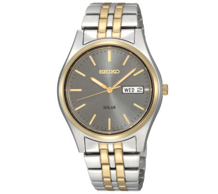 Seiko Men's Solar Two-Tone Bracelet Watch withCharcoal Dial