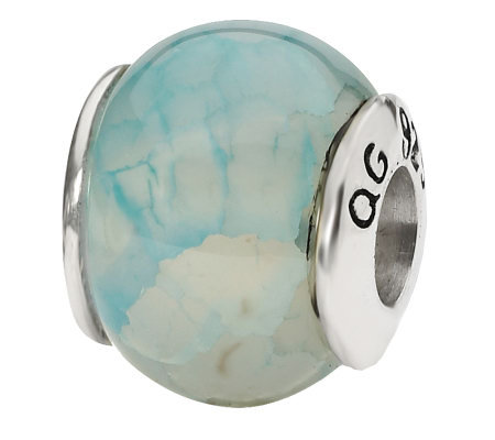 Prerogatives Sterling Light Blue Crackle AgateGemstone Bead
