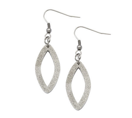 Stainless Steel Laser-Cut Oval Dangle Earrings