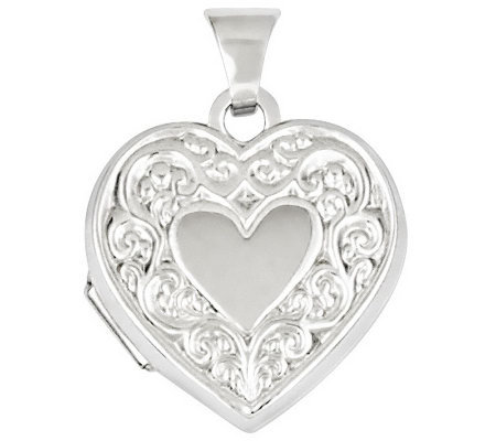 Scroll Heart Locket, 14K Gold