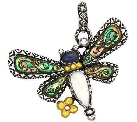 Barbara Bixby Sterling & 18K Multi-Gemstone Dragonfly Charm