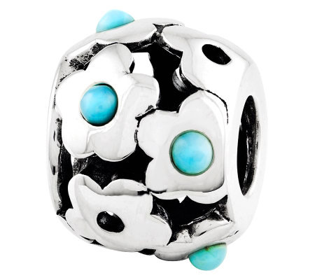 Prerogatives Sterling Turquoise Flowers Bead