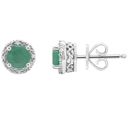 Sterling Birthstone Fancy Stud Earrings with Diamond Accents