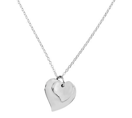 "Sterling 14"" Polished Double Heart Solid Pendant and Necklace"